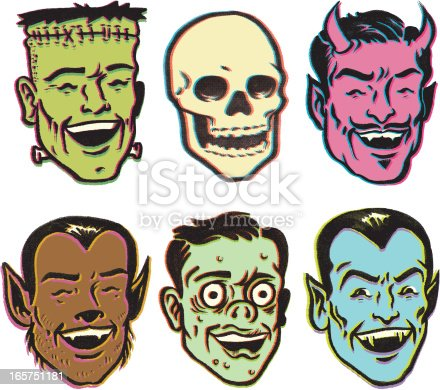 this is an illustration of Frankenstein, a skull, the devil, a wolf man, a ghoul or the local crackhead, and Dracula. all drawn in a retro vintage style.