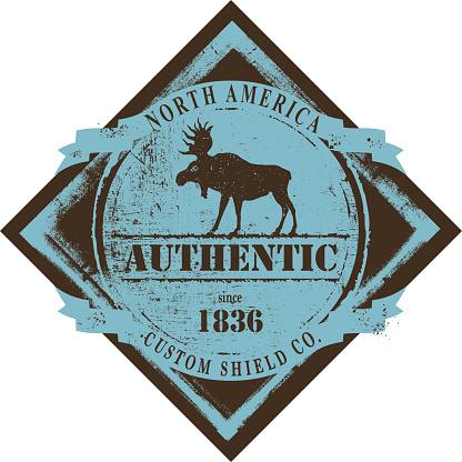 retro moose emblem shield with copy space