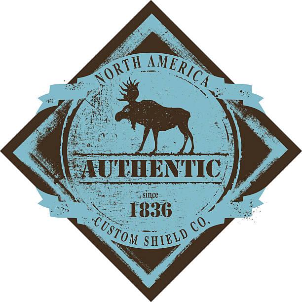 retro moose shield with copy space retro moose emblem shield with copy space elk stock illustrations