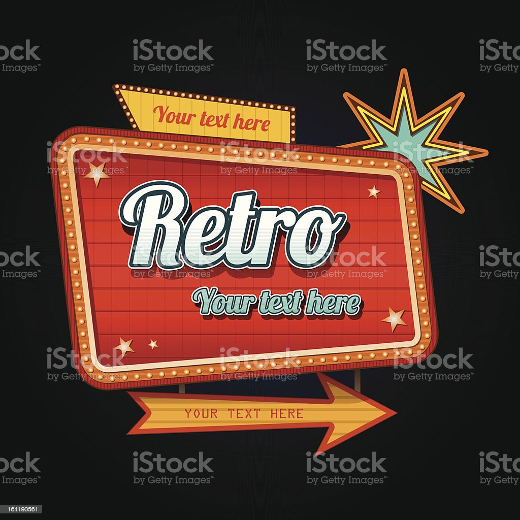 Retro motel sign with copyspace royalty-free stock vector art