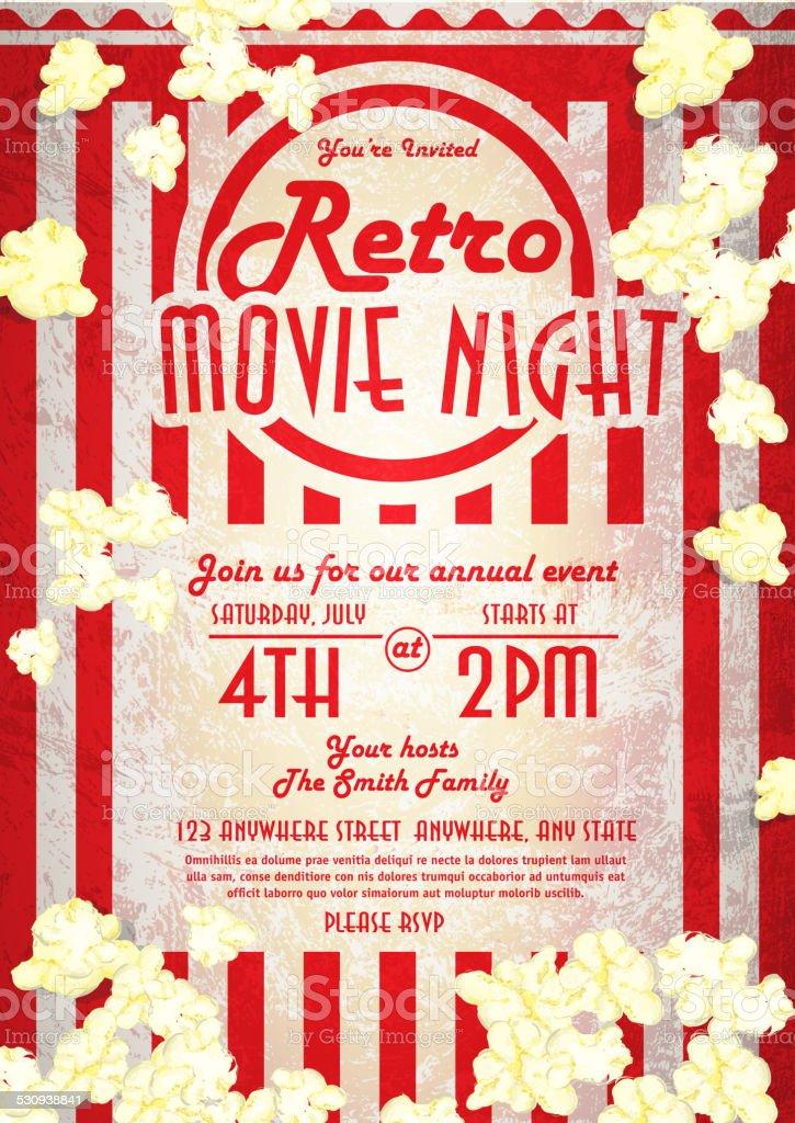 Retrofilmnacht Einladung Designvorlage Aufgepeppt Corn Vektor ...