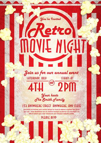 Retro movie night invitation design template popped corn