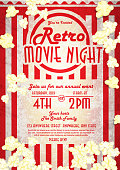 Vector illustration of a retro movie night invitation design template. Includes popcorn bag background, popcorn kernels, and text sample design. Easy to edit layers. Great for family and friends movie night invitations. Girls night, funny, drama, thriller movies. Snack foods, junk foods, buttery, salty and sweet. Tasty, pajama party, old fashioned flicks, action, romance