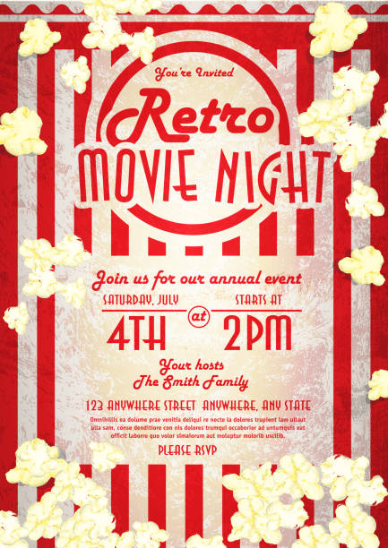 stockillustraties, clipart, cartoons en iconen met retro movie night invitation design template popped corn - popcorn