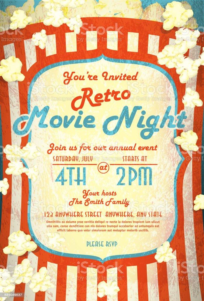 Retro movie night invitation design template red and white vector art illustration