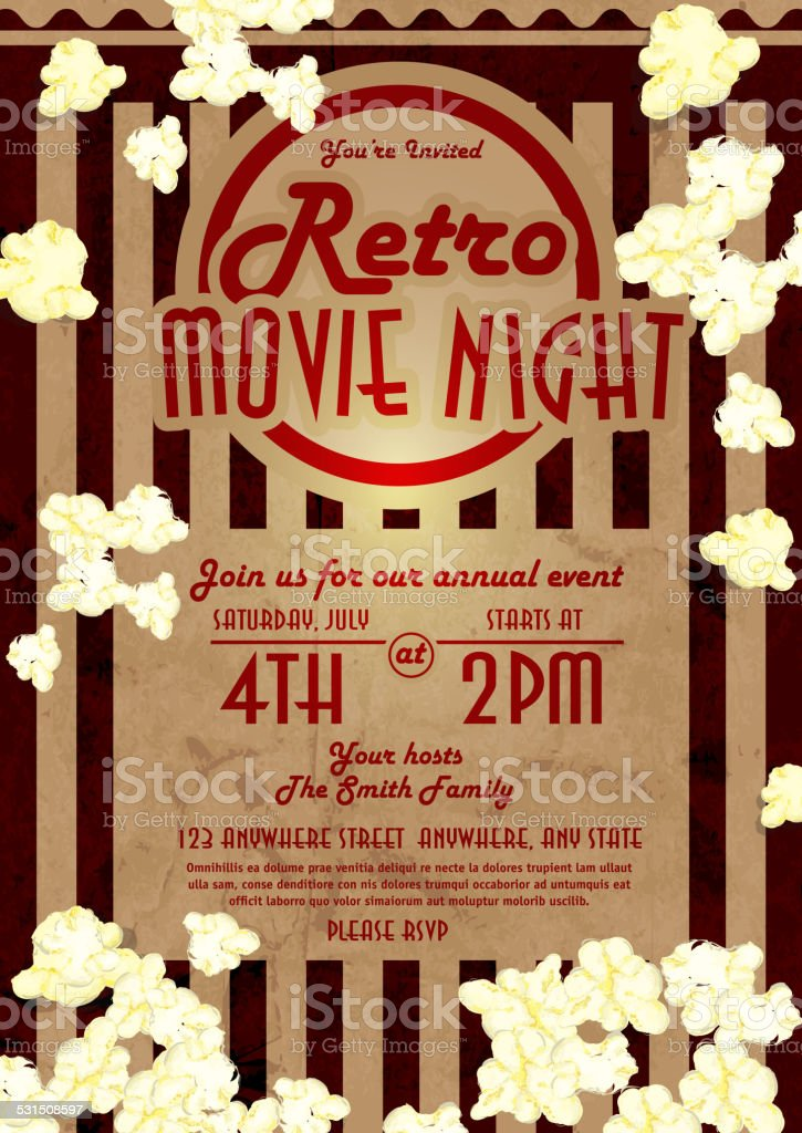 Retro movie night invitation design template vector art illustration