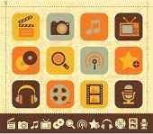 Retro multimedia old-fashioned icons.