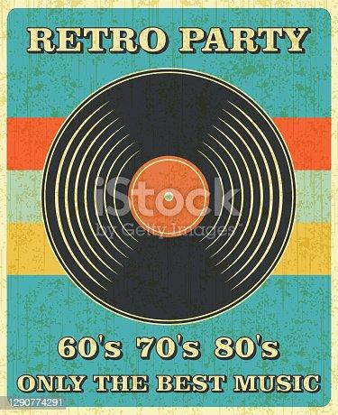 Retro Music and Vintage Vinyl Record Poster in Retro Desigh Style. Disco Party 60s, 70s, 80s.