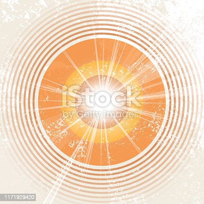 istock Retro music background in 70s style with sound wave circles - abstract record design - vintage starburst - sunburst template 1171929420