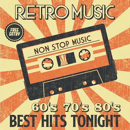 Retro Music Cassette Poster in Retro Design Style.