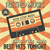 Retro Music Party and Vintage Music Cassette Poster in Retro Desigh Style. Disco Party 60s, 70s, 80s.