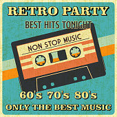 Retro Music Party and Vintage Music Cassette Poster in Retro Design Style. Disco Party 60s, 70s, 80s.