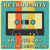 Retro Music Party and Vintage Music Cassette Tape Poster in Retro Desigh Style. Disco Party 60s, 70s, 80s.