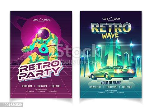 Retro music club party cartoon vector leaflet