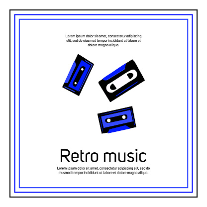 Retro music festival banner template with text space.