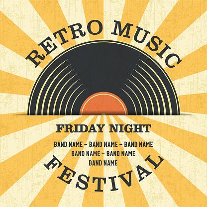 Retro Music Festival Poster in Retro Design Style.