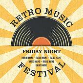 istock Retro Music Festival Poster in Retro Design Style. 1214129798