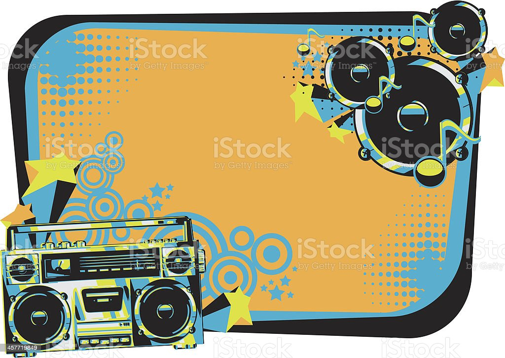 Retro music frame vector art illustration