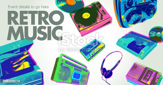 istock Retro Music Icons - Poster 1200339774