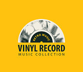 Vector banner for retro music with old vinyl record and words Vinyl record, Music collection on the yellow background. Suitable for poster, placard, flyer, brochure, card, invitation