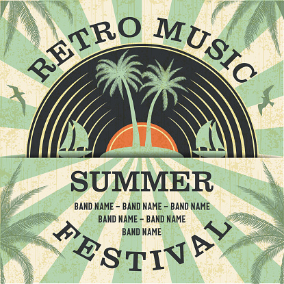 Retro Music Summer Festival and Vintage Vinyl Record Poster in Retro Design Style.