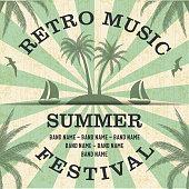 Retro Music Summer Festival Poster in Retro Design Style.