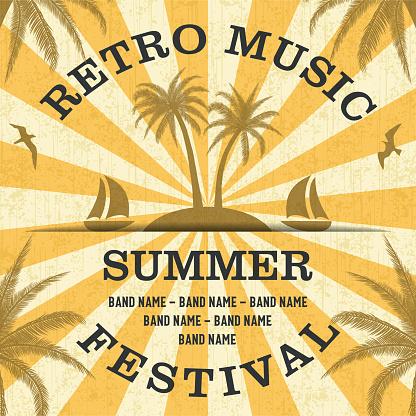 Retro Music Summer Festival Poster in Retro Design Style
