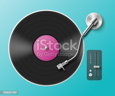 istock Retro music turntable for audio vinyl records a vector realistic 3d illustration 1306537931
