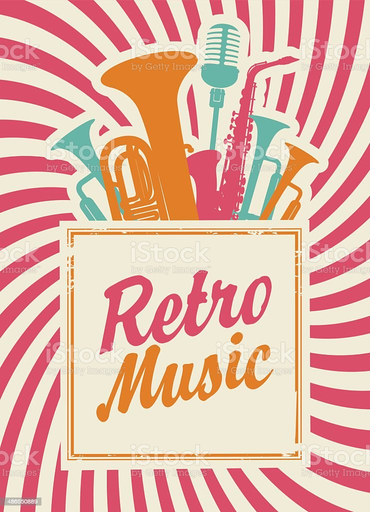 retro music vector art illustration