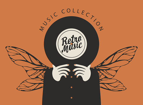 Retro music collection. Vinyl record in the hands of a person with dragonfly wings. Vector creative illustration in flat style, suitable for poster, banner, flyer, advertisement, cover, invitation