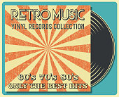 Retro Music and Vintage Vinyl Record Poster in Retro Desigh Style. Disco Party 60s, 70s, 80s.