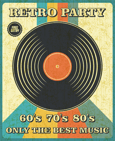 Retro Music Vinyl Record Poster in Retro Design Style.