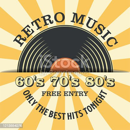 Retro Music and Vintage Vinyl Record Poster in Retro Design Style. Disco Party 60s, 70s, 80s.