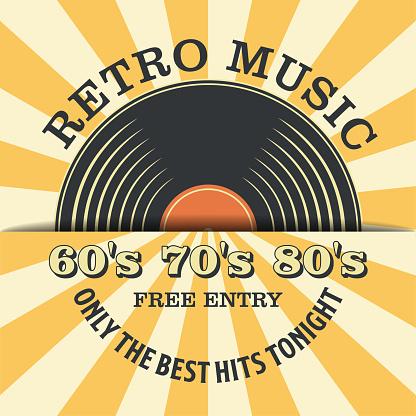Retro Music and Vintage Vinyl Record Poster in Retro Design Style. Disco Party 60s, 70s, 80s.