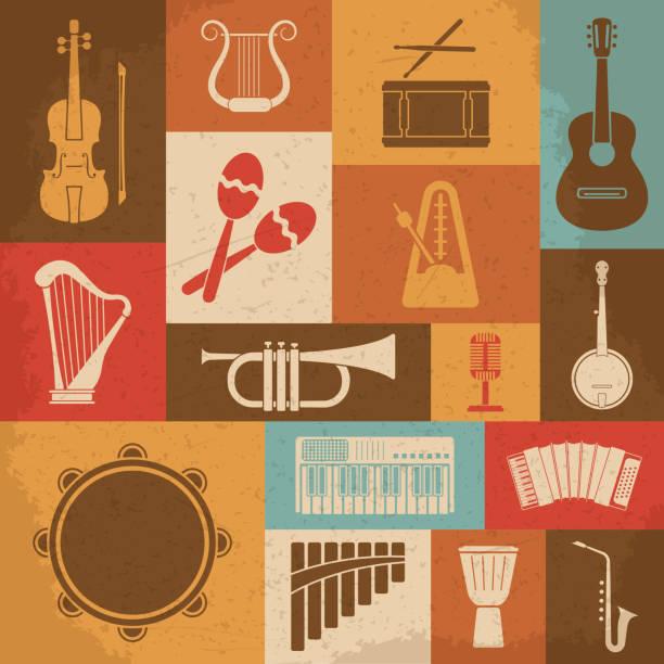 ilustrações, clipart, desenhos animados e ícones de retro instrumentos musicais e ícones. vetor ilustração - pandeiro