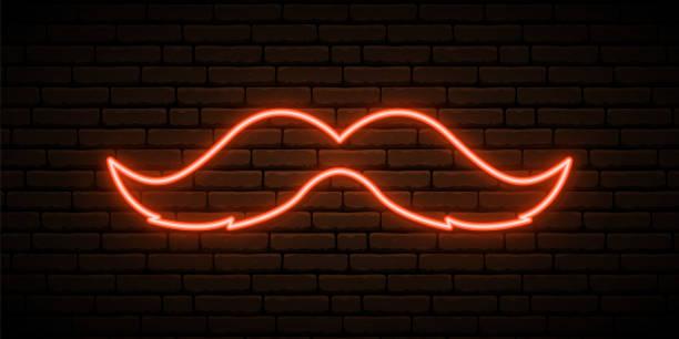 ilustrações de stock, clip art, desenhos animados e ícones de retro mustache neon sign. shiny ginger mustache on dark brick wall background. concept design for st. patrick's day. vector illustration. - santa beard neon