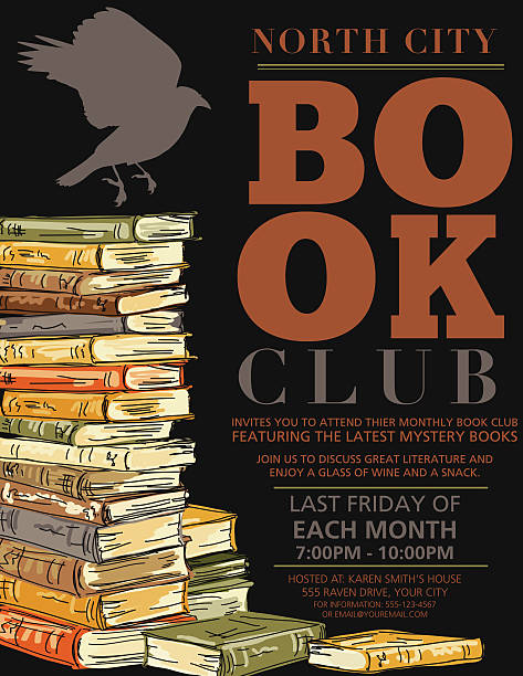 Retro Mystery Book Club Invitation Poster Retro Style Mystery Book Club vertical Invitation Poster.  There is a stack of hand drawn sketchy style books with a crow silhouette on top on the left hand side with the text on the right.  Invitation is on a black background. There is two books along the bottom. book club stock illustrations