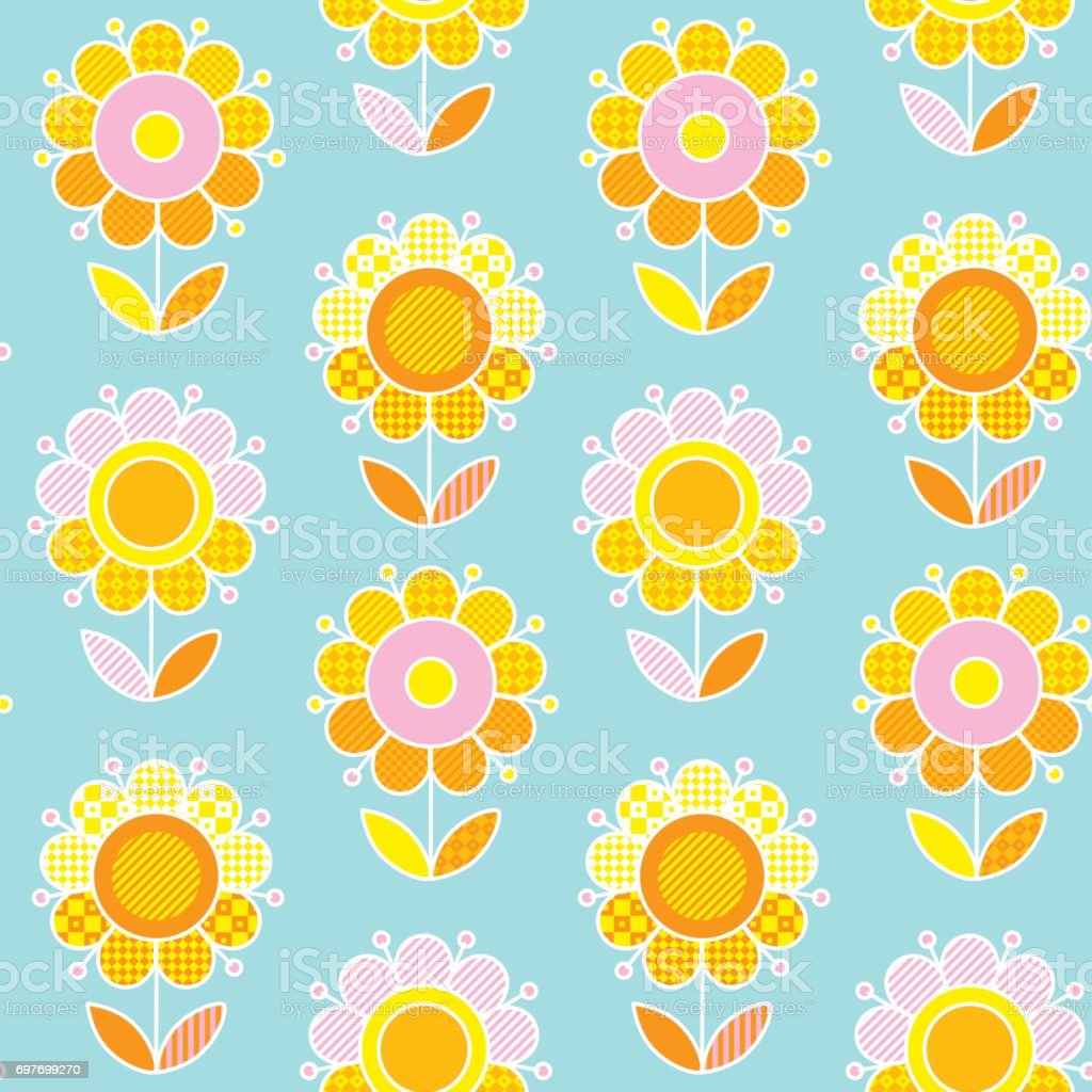 Retro Naive Flower Summer Color Seamless Vector Pattern For Surface ...