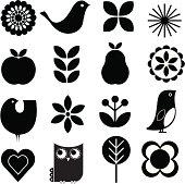 Retro-modern stylish Scandinavian-style vector nature design elements set. Includes birds, flowers, fruit.