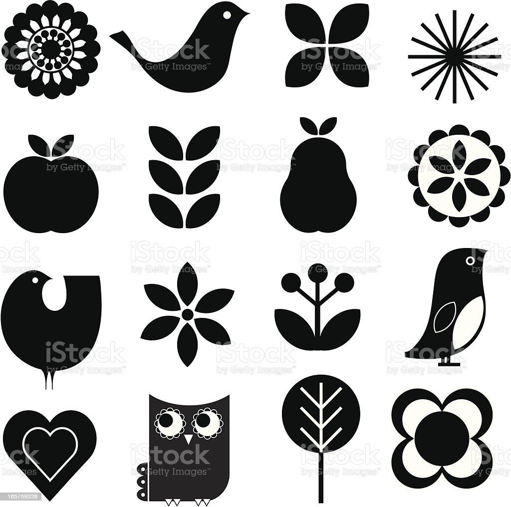 Retro nature icon set vector art illustration
