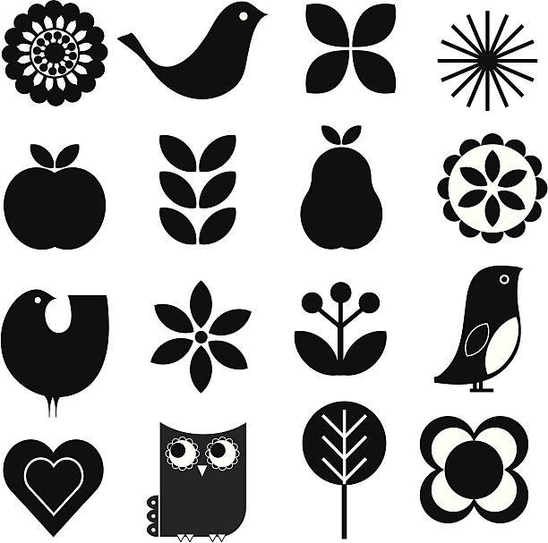 retro nature icon set - black and white owl stock illustrations, clip art, cartoons, & icons