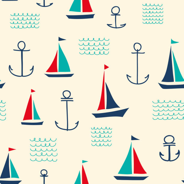 Retro Nautical Pattern with Sailboats Hand-drawn vessel seamless pattern with multicolored yachts, anchors and waves. sailboat stock illustrations