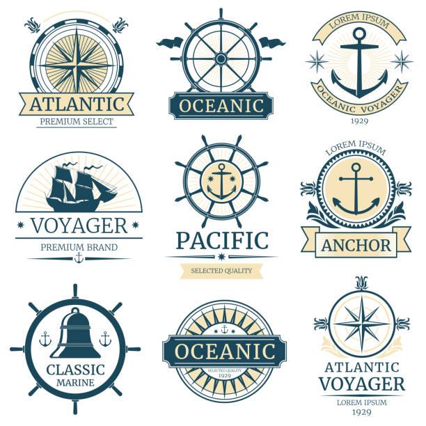 retro-nautische vektor etiketten, abzeichen, logos und embleme - wasserfahrzeug stock-grafiken, -clipart, -cartoons und -symbole