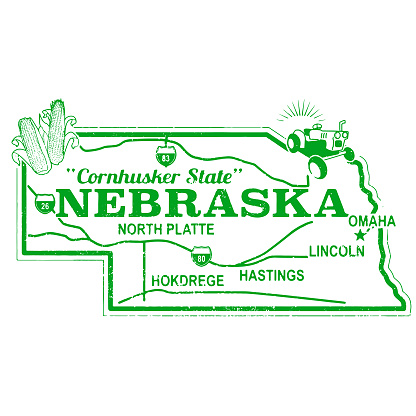 Retro Nebraska Travel Stamp
