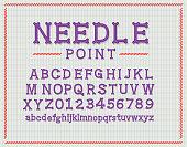 Vector illustration of a Retro Needle Point or Cross stitch alphabet font design design set. Sample text design. Easy to edit. EPS 10.