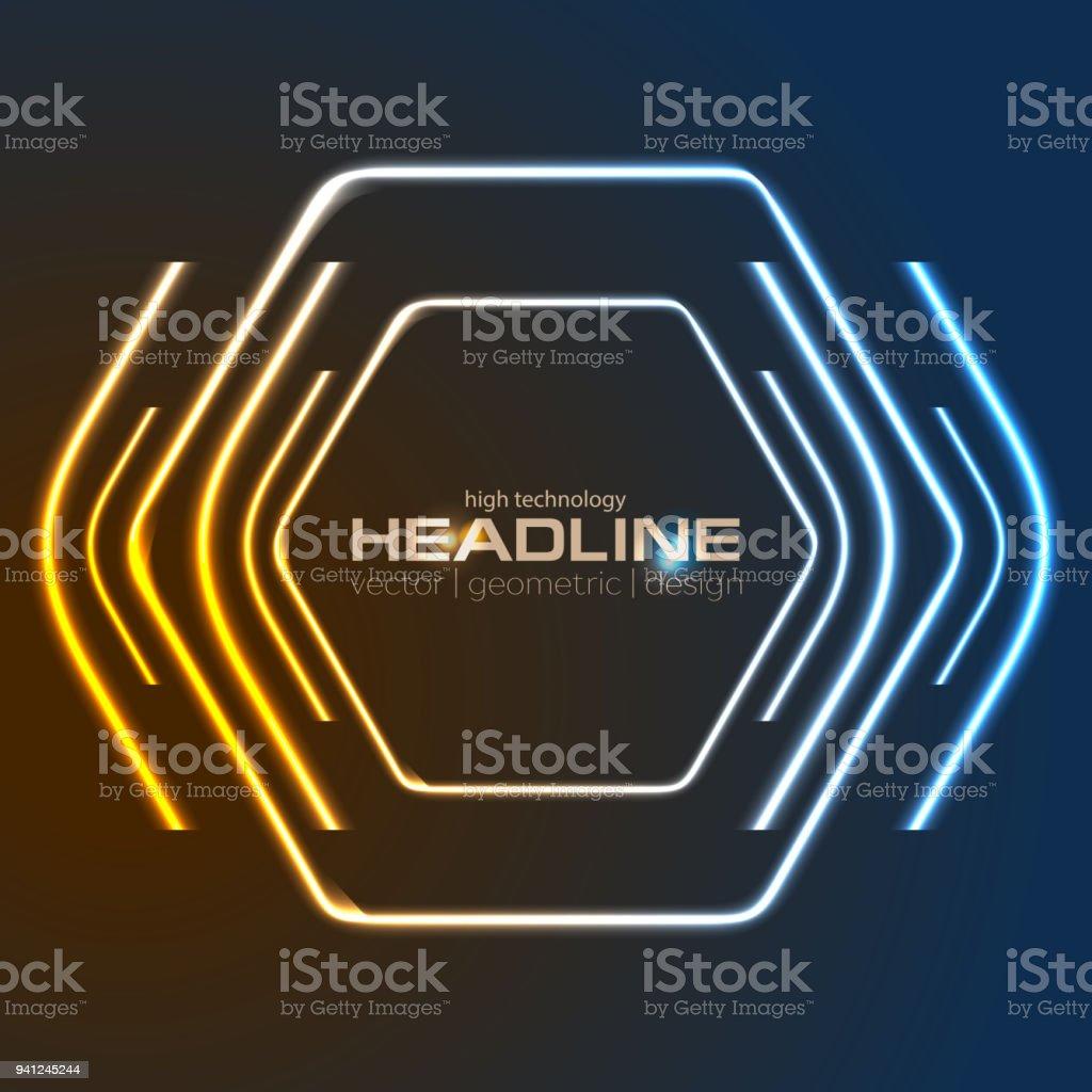 Retro neon 80s shiny hexagon abstract background vector art illustration