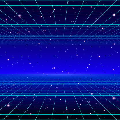Retro neon background with 80s styled laser grid and stars