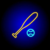 retro neon baseball bat and ball icon on black blue background