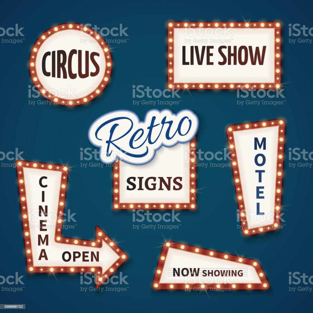 Retro neon bulb vector signs set. Cinema, live show, open vector art illustration