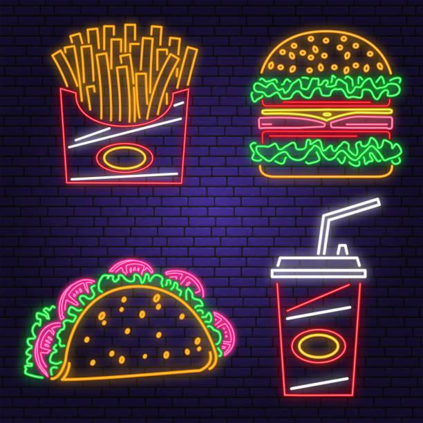 retro neon burger, cola, taco und pommes frites zeichen auf ziegelwand hintergrund. design für café. vektor. neon-design für pub- oder fast-food-geschäft. licht zeichen banner. glasrohr - salatbar stock-grafiken, -clipart, -cartoons und -symbole